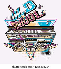 Old school - funky colorful music boombox design
