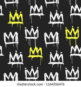 Old school graffiti style white and yellow crown tags vector seamless pattern. Hand drawing spray paint design on black background for print fabric, tee, wrapping paper  and textile
