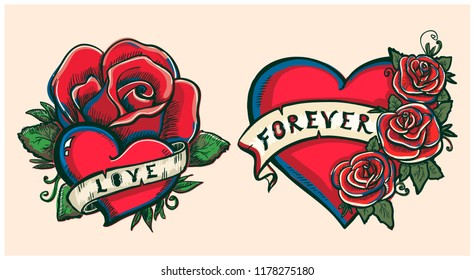 Old school hand drawn graphic illustration with hearts, roses and ribbons, tattoo style