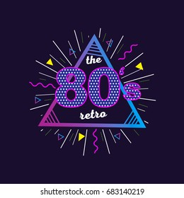 Old school hand written lettering poster. 80's retro vintage colorful background. Eighties graphic banner. Apparel design for tee print. Vector illustration.