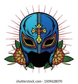 old school mask wrestler design, vector EPS 10