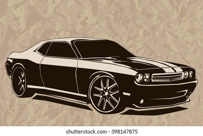 Old school muscle cars inspired cartoon sketch. Vector abstract muscle car. Vector image can be used for posters and printed products.