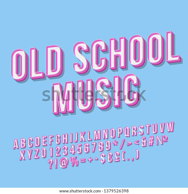 Old School Music 3d Vector Lettering Stock Vector (Royalty
