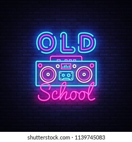 Old School neon sign vector. Retro Music Design template neon sign, Retro Style 80-90s, celebration light banner, tape recorder neon signboard, nightly bright advertising, light inscription. Vector