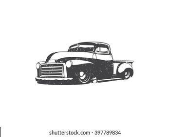 Old school one color pick up truck vector art