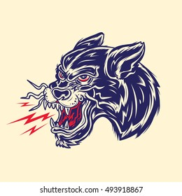Old School Panther Head Tattoo Illustration