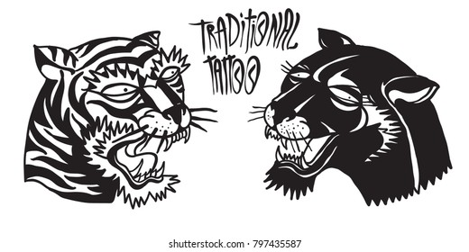 Old School Panther Head and Tiger Head  Illustration. Traditional Tattoo.