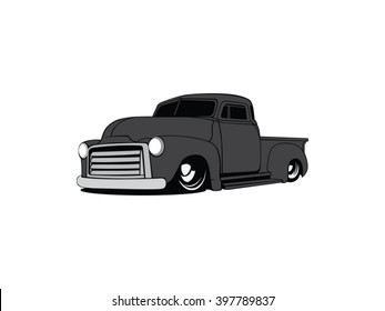 Old school pick up truck vector art
