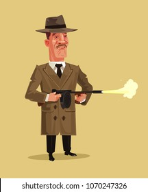 Old school retro gangster mascot character shooting weapon gun. Crime ghetto battle shoot breaking low concept. Vector flat cartoon graphic design isolated illustration