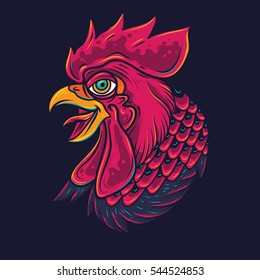 Old School Rooster Head Tattoo Illustration