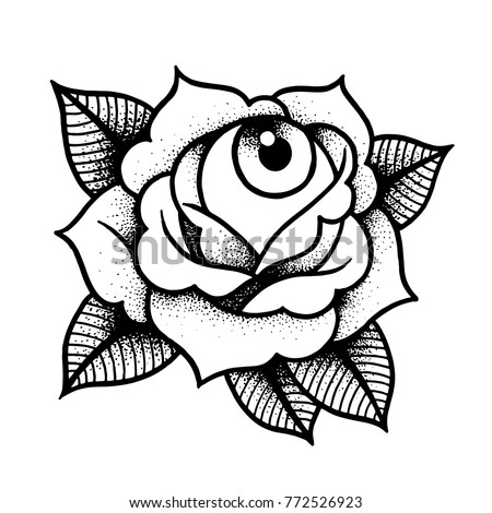 Old School Rose Tattoo Eye Traditional Stock Vector Royalty Free