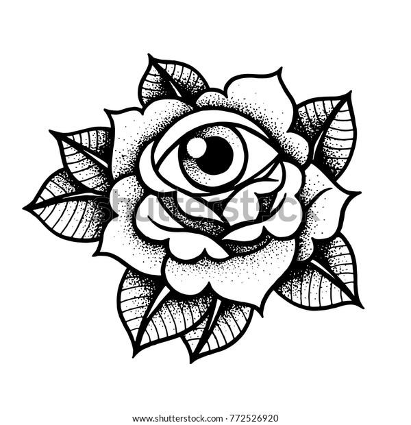 Vetor Stock De A Velha Escola Rosa Tatuagem Com Livre De