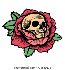 Old school rose tattoo with skull. Traditional black dot style ink. Isolated vector illustration. Traditional Tattoo Flowers Set Old School Tattooing Style Ink Roses