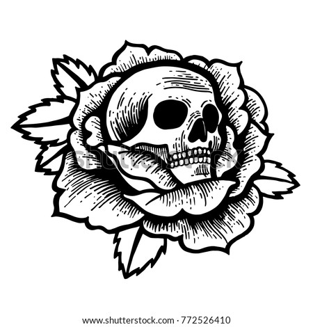 Old School Rose Tattoo With Skull Traditional Black Dot Style Ink Isolated Vector Illustration
