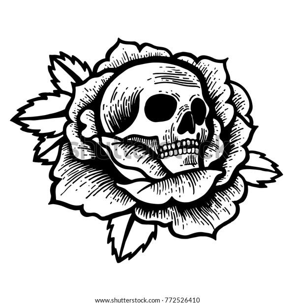 Vetor Stock De Tatuagem De Rosa Velha Escola Com Livre De