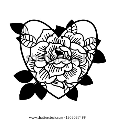 Old School Rose Tattoo Traditional Black Stock Vector Royalty Free