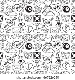 Old school seamless pattern with heart, cherry, dagger and other elements. Vector background with fashion patches and pins in trendy rockabilly tattoo style.