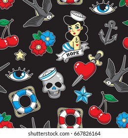 Old school seamless pattern with heart, skull, sparrow, anchor and other elements. Vector background with fashion patches and pins in trendy rockabilly tattoo style.