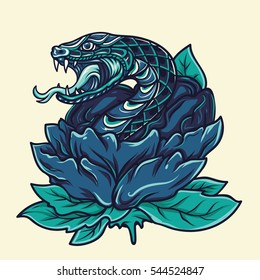Old School Snake with Flower Tattoo Illustration