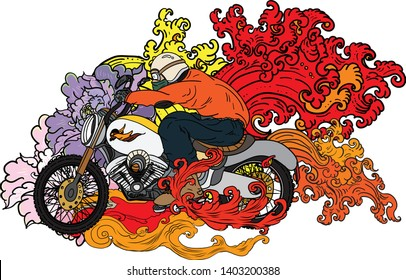 old school style and Japanese tattoo style.motorbike and big bike speed with fire tattoo.Sticker for print.