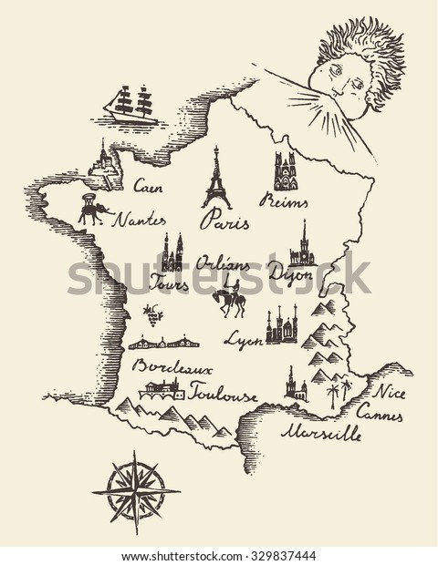 Old School Style Map France Vintage Stock Vector (Royalty ...