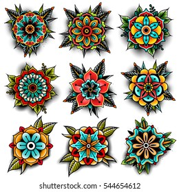 678cdb3dc5d1a Old school tattoo art flowers for design and decoration. Vector illustration