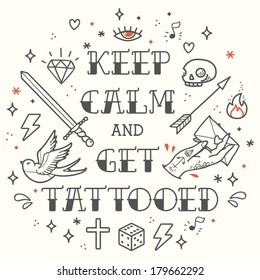 Old school tattoo. Cartoon vector tattoo elements in funny style: dagger, skull, heart, diamond, scull and swallow. Doodle in exercise book style