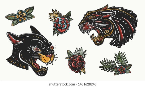 Old school tattoo collection. Black panthers. Wild cats. Traditional tattooing style