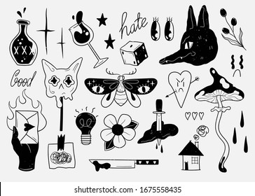 Old school tattoo elements. Cartoon tattoos in funny style. Vector illustration.