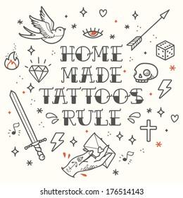 Old school tattoo elements. Cartoon tattoos in funny style: dagger, skull, dice, star, diamond, arrow and swallow