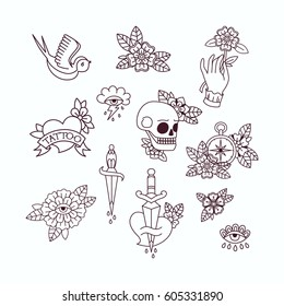 Old School Tattoo Elements. Set of Vintage Tattoos.