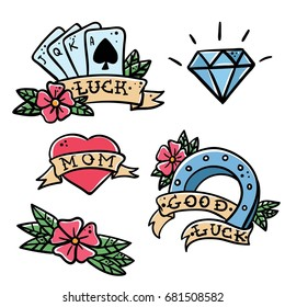 Old school tattoo elements set. Cartoon vector tattoos in funny style: playing cards, flower, heart, diamond, scull and swallow, horseshoe