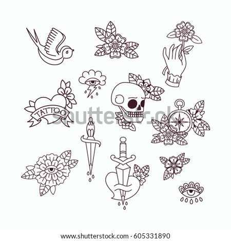 Old School Tattoo Elements Set Vintage Stock Vector Royalty Free