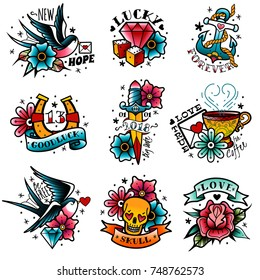 old school tattoo emblems set