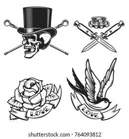 old school tattoo emblems. Swallow bird, skull in hat, rose flower, crossed knives. Design element for emblem, sign, label, poster. Vector illustration