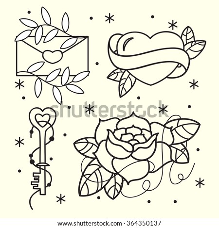 Old School Tattoo Flash Pattern Roses Stock Vector Royalty Free