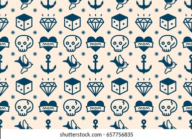 Old school tattoo hipster style seamless pattern. vector illustration icon design. white, blue. anchor, heart, love. skull,swallow,dice,diamond.
