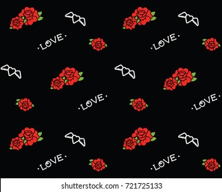 Old school tattoo pattern with hearts and roses.