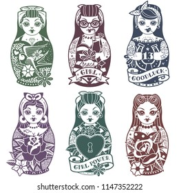 Old school tattoo Pin Up Russian Dolls monochrome Set. Vector illustration