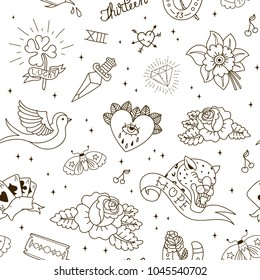 Old school tattoo seamless pattern. Tattoo Collection: dagger, flower, star, clover, leopard, blade, heart, diamond, swallow, star, horseshoe. Vector illustration.
