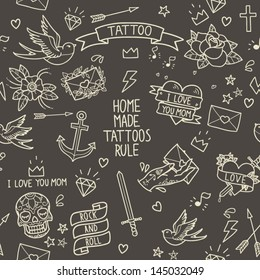 Old school tattoo seamless pattern. Cartoon tattoo elements in funny style: anchor, dagger, skull, flower, star, heart, diamond, scull and swallow