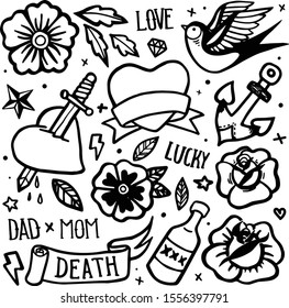 Old school tattoo seamless pattern. Hand drawn vector background. Tattoos in funny style: rose, daisy, star, bottle, heart, swallow, love, luck, death, knife, mom, dad, anchor, diamond.