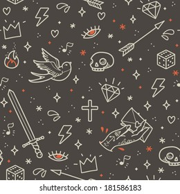 Old school tattoo seamless pattern. Cartoon vector tattoo elements in funny style: dagger, skull, flower, crown, heart, diamond, scull and swallow. Doodle in exercise book style