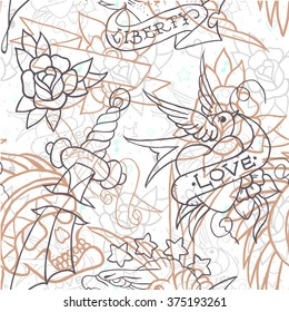 Old school tattoo seamless pattern. Cartoon vector  elements in funny style:anchor, dagger, skull, flower, star, heart, diamond, scull and swallow. Doodle in exercise book style