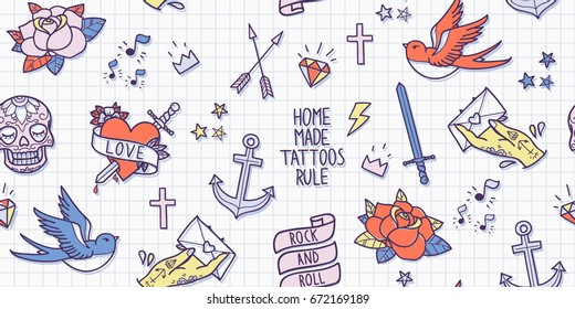 Old school tattoo seamless pattern. Cartoon vector tattoo elements in funny style: anchor, dagger, skull, flower, star, heart, diamond, scull and swallow. Doodle in exercise book style