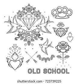 Old school tattoo set. Classic vector tattoo doodle elements: flower, sacred heart, diamond, swallow, brass knuckles. Traditional Tattooing Style Drawing Collection. Sticker, patch, pin design.