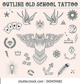 Old school tattoo set: owl, feather, paper boat, moon, sun, swallows, diamond, crown, game cards, anchor, star.