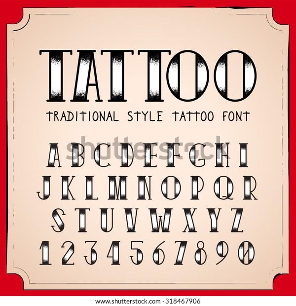 Image Vectorielle De Stock De Police De Style Vieux Tatouage Scolaire 318467906