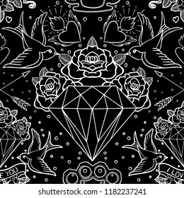 Old school tattoo style seamless pattern. Classic vector tattoo doodle elements: flower, sacred heart, diamond, swallow, brass knuckles. Traditional Tattooing inspired. Wrapping paper, textile.