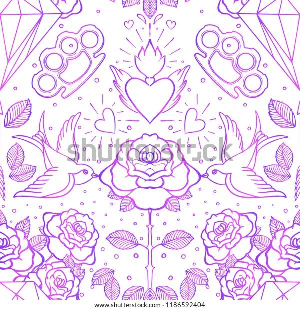 Old School Tattoo Style Seamless Pattern Stock Vector Royalty